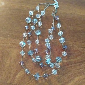 Pink and clear beaded necklace